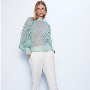 NWT ZARA Semi- sheer textured blouse